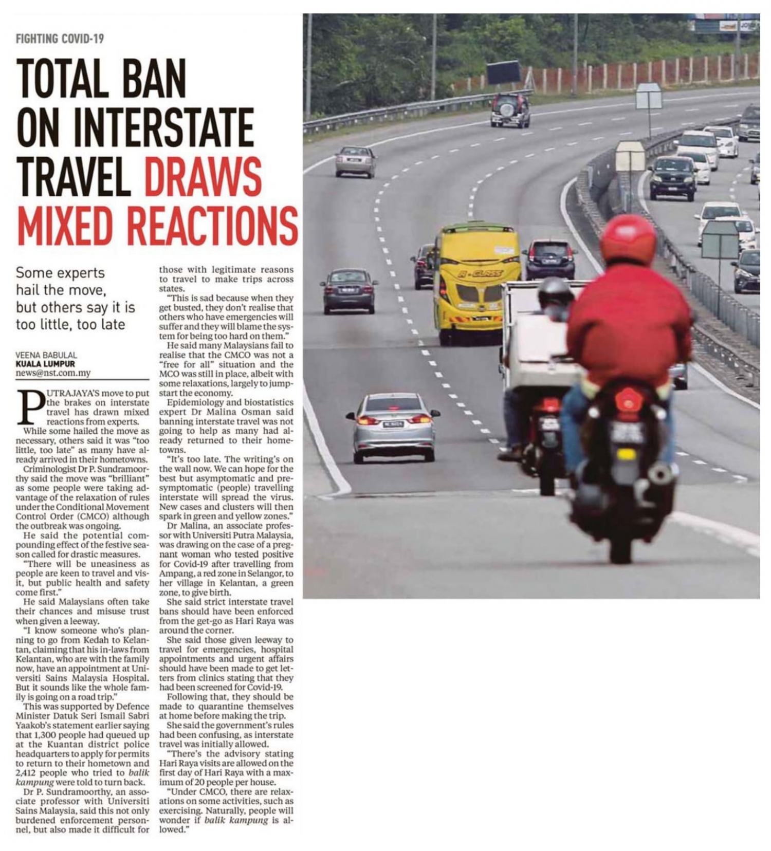 Total Ban On Interstate Travel Draws Mixed Reactions Universiti Putra Malaysia